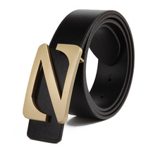 Z word high-grade copper buckle leather belt leather belt Italy imported leather casual wear brand belt manufacturers wholesale