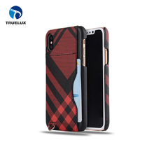 Excellent Craft Scottish Grid Pattern Phone Case Leather For iPhone X 10 with Credit Card Slot