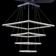 european luxury square crystal led pendant light kitchen