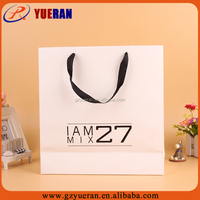 Custom printed paper shopping bag with ribbon handle and bottom cardboard