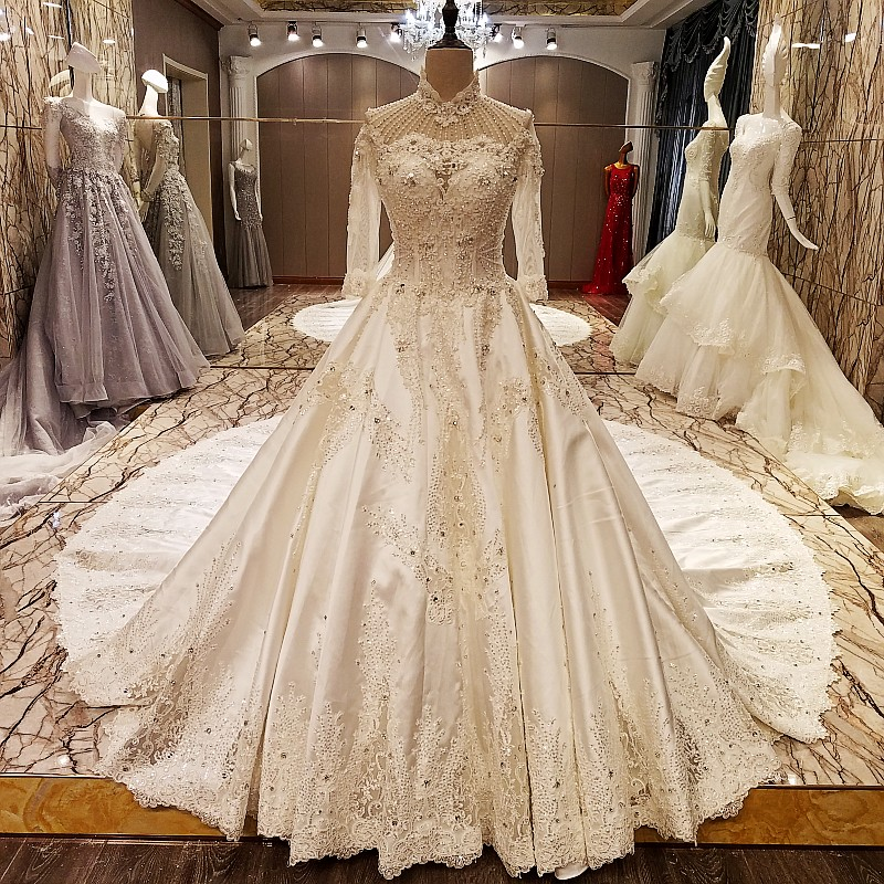LS70740 High-neck satin wedding dress long sleeves with appliques guipure lace ivory wedding dress