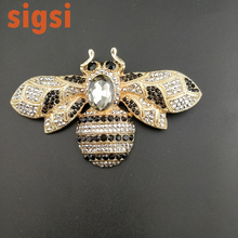 Vintage silver & gold tone crystal 3.94 inches large insert bee brooch