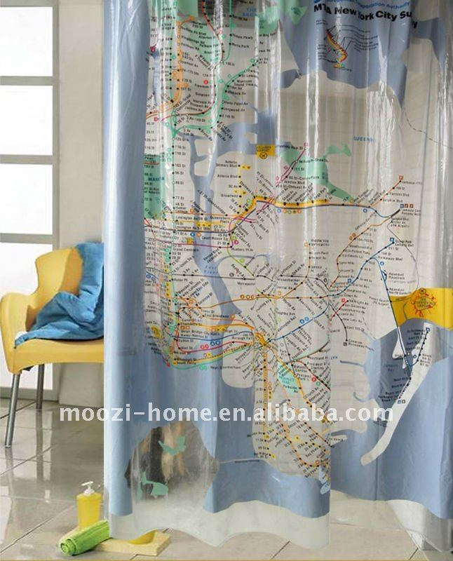 New york city subway print hookless shower curtain