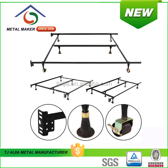 Metal Bed Frame with Rug Rollers/Glides & No-Tools Assembly