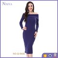 long sleeve off-shoulder Purple 2017 Woman Summer Dress