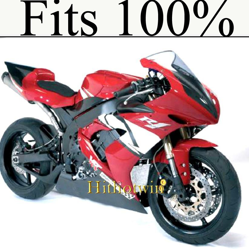 Fits 100%!! INJ Fairing 2004 2005 2006 YZFR1 ABS Plastic Fairing For yamaha YZF-R1 04 05 06 YZFR 1 red white Fairing YZF R1 2004
