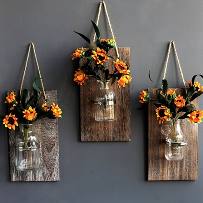 Decorative Mason Jar Wooden Wall Decor - Rustic Wall Sconces with Flowers - Farmhouse Home Decor (Set of 3)