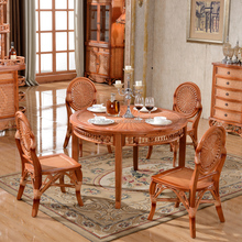 Cane dinning room dinning table set with 4chair dinning cane round table set furniture