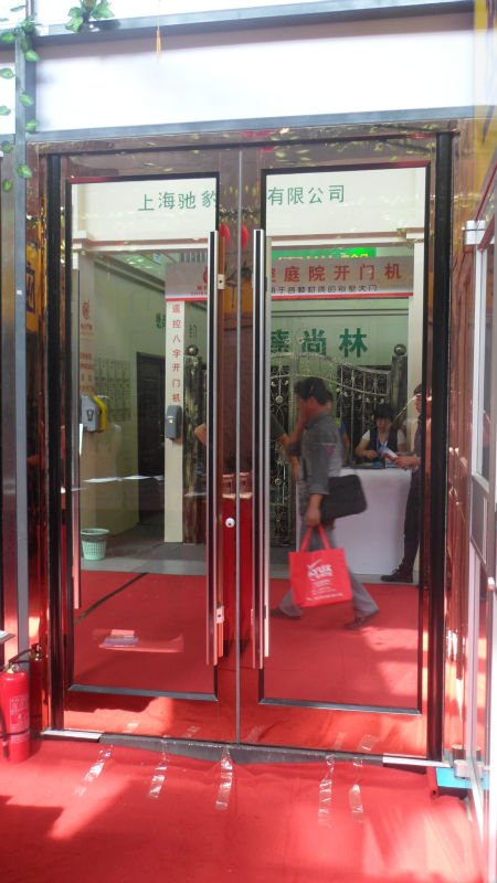 2012 new style aluminum +stainless steel doors for buildings on trade show -6