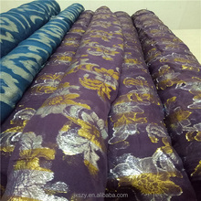 Silk fabric with metallic jacquard lurex silk chiffon fabric