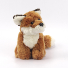 15cm Sitting Lifelike Plastic Eyes and Nose Brown Color Cute Plush Stuffed Fox Toy Animals
