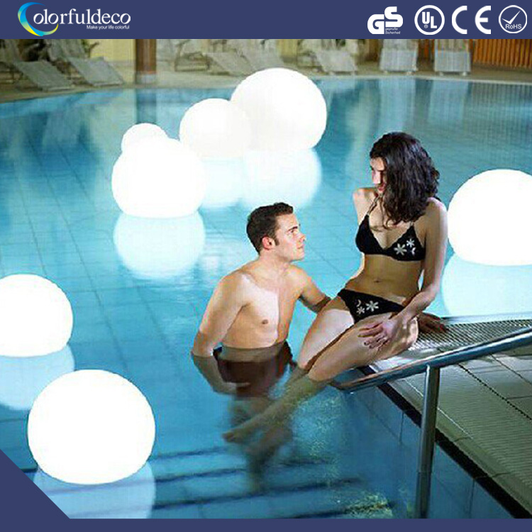 outdoor large garden rgb rechargeble battery illuminated light PE led glow ball for swimming pool decoration