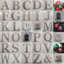 Silver Glitter With Crystal Gems Alphabet Sticker Large Rhinestone Diamante Stick On Self Adhesive Letters For Favour Box