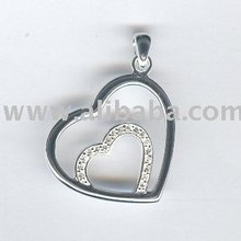 925 Sterling Heart Pendants with white Zircon