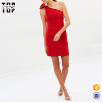OEM woman one shoulder red cocktail mini dress 2013 patterns