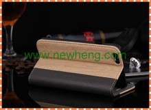 Wood Pattern Mobile Phone Stand Leather Case for iPhone 5