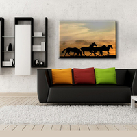 Home decorate running horse wall canvas painting designs for living room