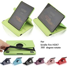 360 Rotating PU Leather Case for Amazon Kindle Fire HDX7 Inch Smart Cover Auto Wake/Sleep Cover