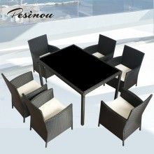 good quality modern and beautiful design patio furniture 6 seater rattan dining set