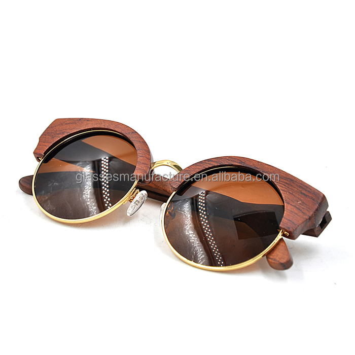 Cheap Natural Wooden Sunglasses Vintage Half Frame Bamboo Sunglasses Cases Wholesaler