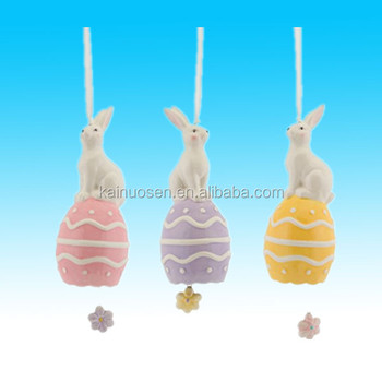 Pack of 12 Easter Bunny Holiday Hanging decorative Bell Ornaments 11""