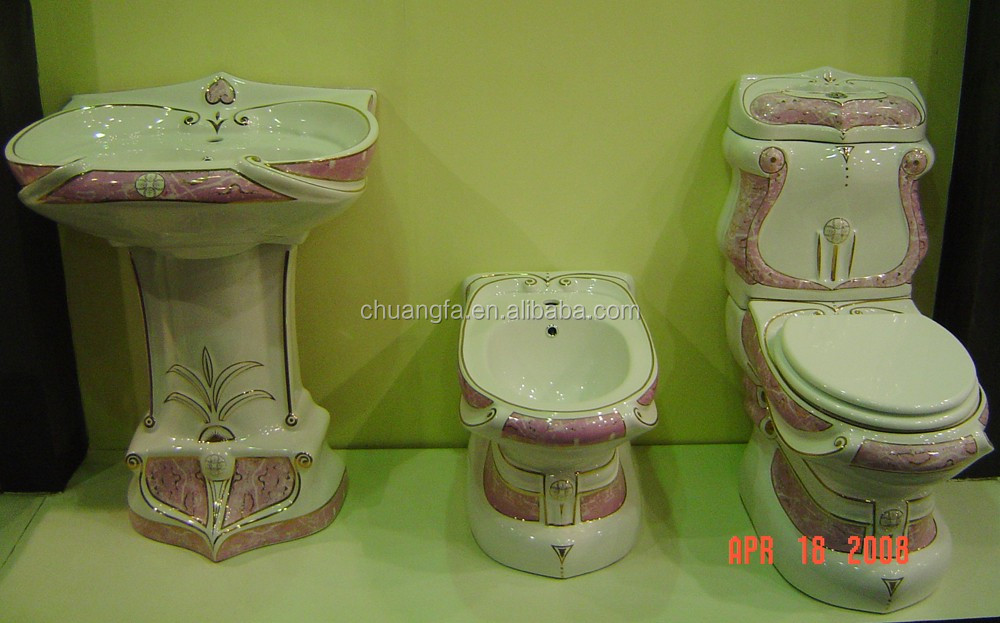 Bathroom Design Decorated Two Piece Toilet Bowl Suite With