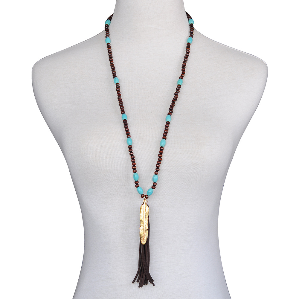 Latest jewelry turkey Hand made brown wood bead turquoise necklace tassel feather wood bead necklace