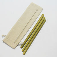 Biodegradable Reusable Straw Custom Natural Bamboo Drinking Straws with Straw Bag and Cleaning Brush