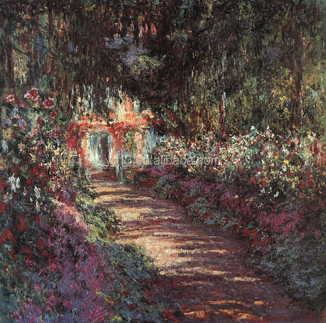 famous artists oil painting Claude Monet reproduction The Garden in Flower 1900 years