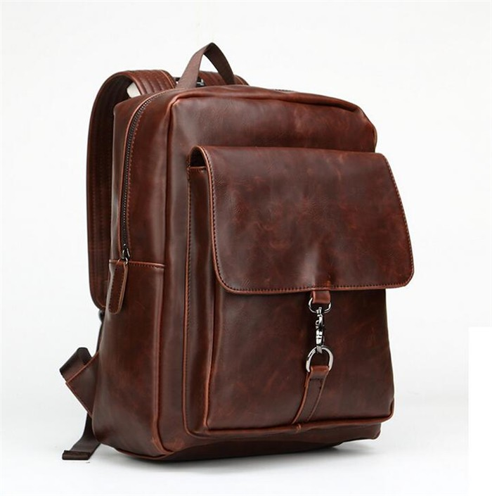 2017 trendy fashion korea crazy horse pu leather coffee backpack bag for young men