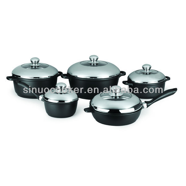 10PCS Die Cast Aluminum Cookware Set