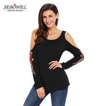 New Designs 2017 Floral Embroidered Long Sleeve Cold Shoulder Top