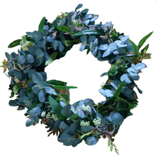 China artificial flowers manufacture decoration polyester eucalyptus leaves wreath christmas eucalyptus artifical garland