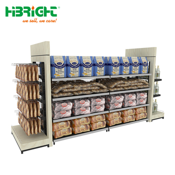 morden grocery store shelf wooden shop retail display stand rack heavy duty wood supermarket gondola shelving