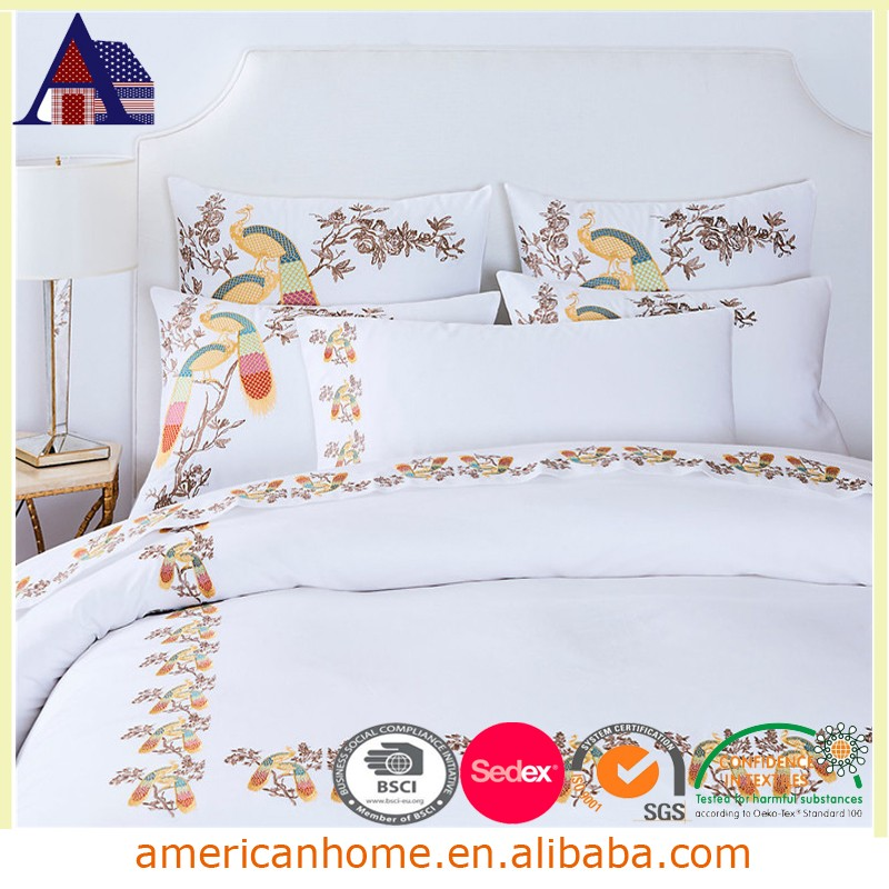3 pieces white embroidery bed cover sheet designs