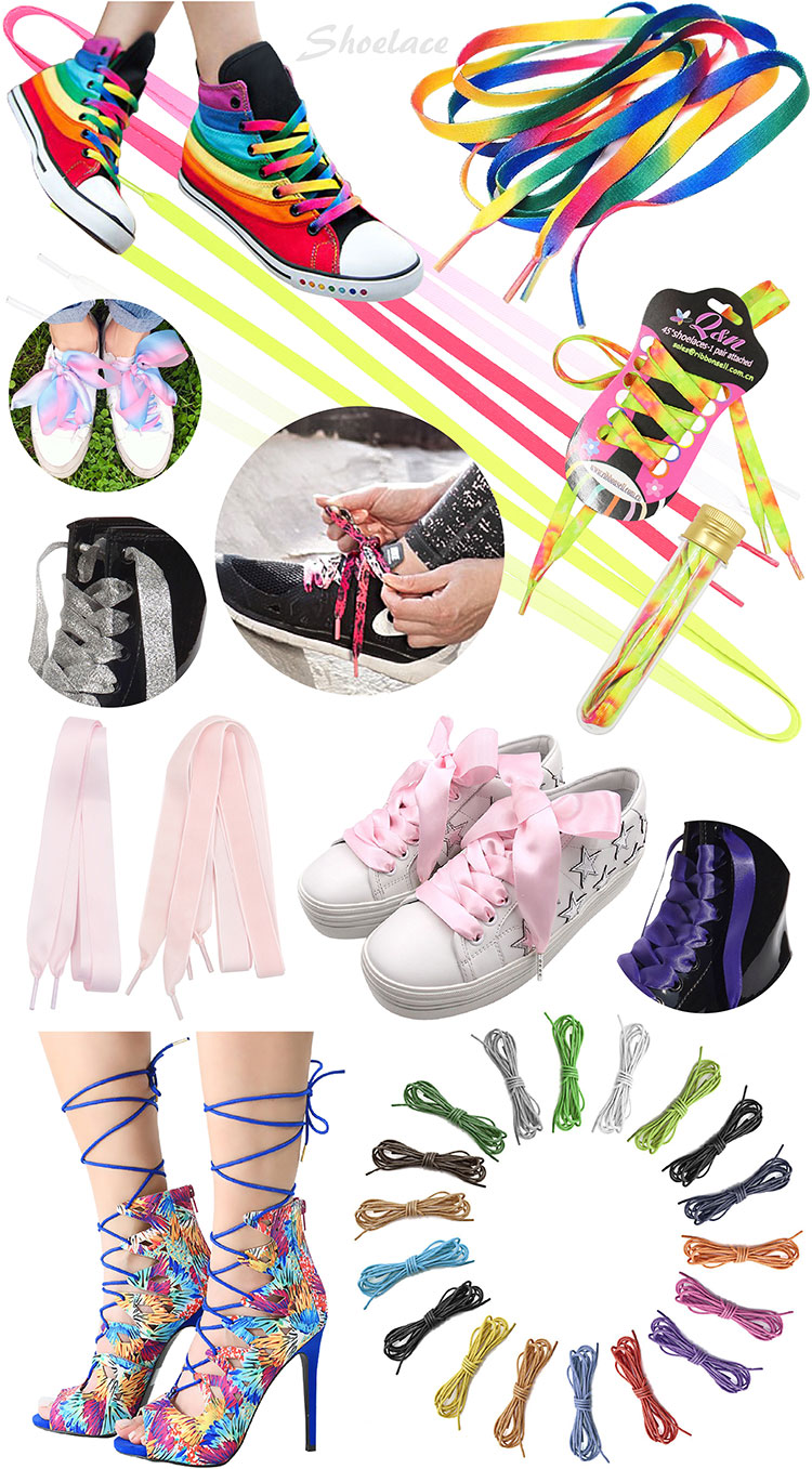Factory direct sale custom printed ribbon shoelaces no minimum
