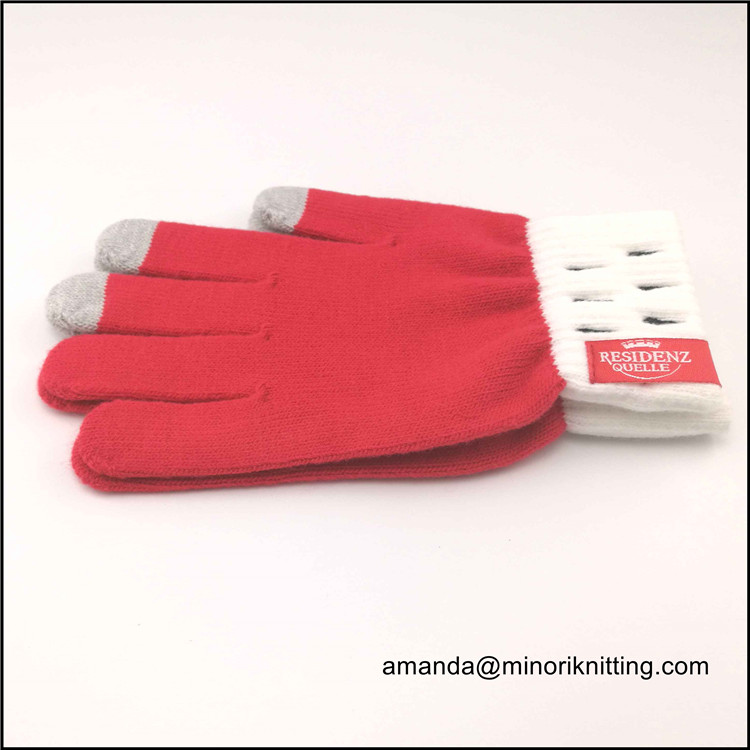 ThatsMINORI high quality winter custom knitted touchscreen gloves