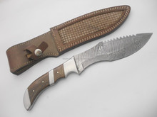CUSTOM HAND MADE DAMASCUS STEEL KNIVES 12 INCH OVERALL 7 INCH DX BLADE WOODEN HANDLE