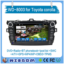 WISDOM 8 inch japan car dvd player for toyota corolla axio with bluetooth,phonebook,swc,fm/am radio