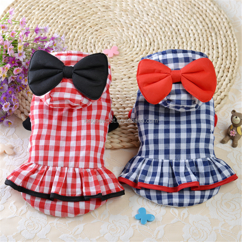 Japanese and Korean Style Thermo Pet Dog Dress Small Dogs Girls Clothes with Bow