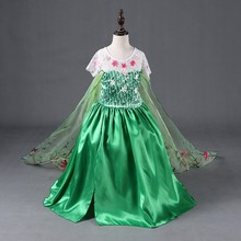 Hot-sale Cute Frock Designs Cloak Child Clothes Fancy Snow Frozen Party <strong>Girl's</strong> Puffy <strong>Dresses</strong> For Kids P31233-2