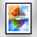 Modern Tree Pictures Home Decor with Photo Frame The Four Seasons Art Wall Art Home Decor Ready to Hang