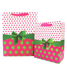 Heart and dot bow tie craft paper gift bags for wedding birthday party