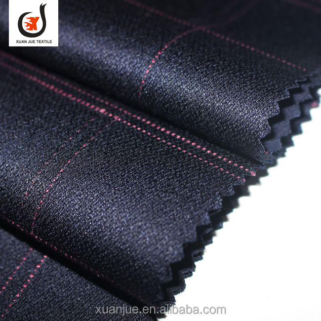 Shaoxing tr suit check garment suiting fabrics wholesale from China factory