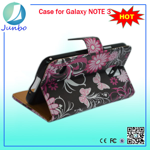 Flowers and butterfly cute leather wallet case for samsung galaxy note 3