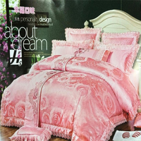 Jacquard luxuey design embroidered flower satine quilted bedspread