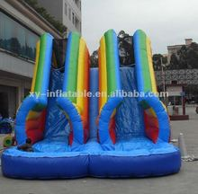 Plato PVC Material double lane inflatable water slide tube inflatable slide