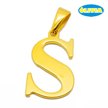 fashion s letter stainless steel initial alphabet pendant design with gold plated