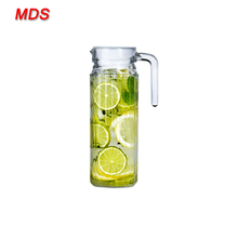 1 litre square glass juice water jug set with lid