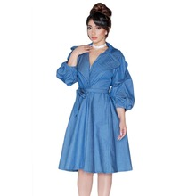 Bangkok sexy ladies one piece Blue Denim Dolly Dress